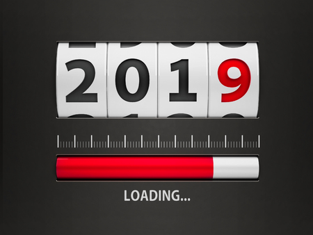 Design component of a counter dial that is showing loading new year 2019, three-dimensional rendering, 3D illustration