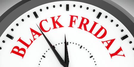 Black clock with Black Friday, three-dimensional rendering, 3D illustration