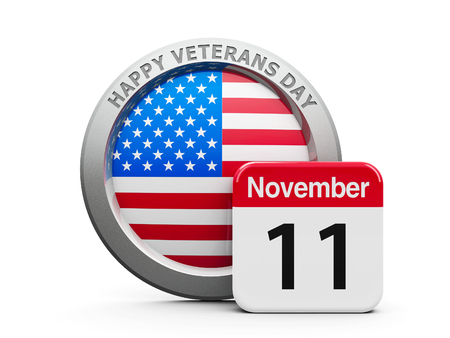 Emblem of USA with calendar button - The Eleventh of November - represents Happy Veterans Day in USA, three-dimensional rendering, 3D illustration Foto de archivo