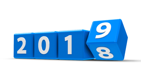 Blaue Würfel mit 2018-2019 Änderung auf einem weißen Tisch repräsentieren das neue dreidimensionale Rendering 2019, 3D-Darstellung