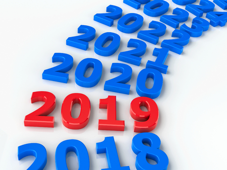 2019 future in the circle represents the new year 2019, three-dimensional rendering, 3D illustration