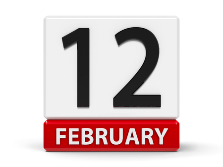 Red and white calendar icon from cubes - The Twelfth of February - on a white table - International Day of Marriage Agencies, Lincolns Birthday, three-dimensional rendering, 3D illustration Stock Photo