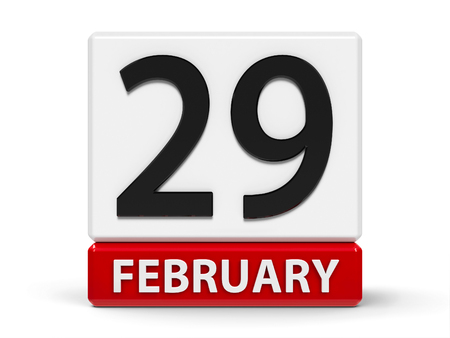 Red and white calendar icon from cubes - The Twenty Ninth of February - on a white table - Leap Day, three-dimensional rendering, 3D illustration Banco de Imagens
