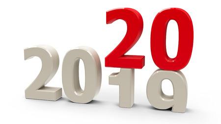 Zmiana 2019-2020 reprezentuje nowy rok 2020, renderowanie trójwymiarowe, ilustracja 3D