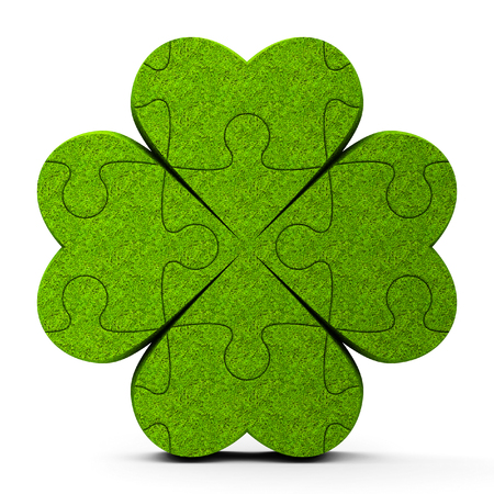 Green puzzle trefoil sign isolated on white background - represents Happy Saint Patricks Day, three-dimensional rendering, 3D illustration Stock Photo