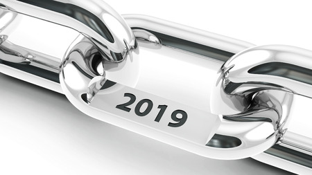 Chain with link with text - 2019 - represents the new year 2019, three-dimensional rendering, 3D illustration