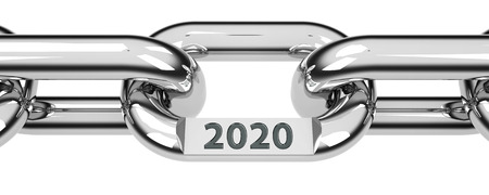 Chain with link with text - 2020 - represents the new year 2020, three-dimensional rendering, 3D illustration Reklamní fotografie