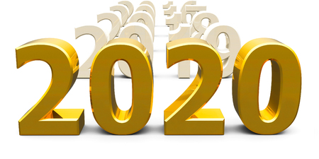 Gold 2020 come represents the new year 2020, three-dimensional rendering, 3D illustration Reklamní fotografie