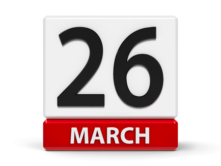 Red and white calendar icon from cubes - The Twenty Sixth of March - on a white table - Purple Day, three-dimensional rendering, 3D illustration Stok Fotoğraf