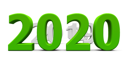 Green 2020 come represents the new year 2020, three-dimensional rendering, 3D illustration