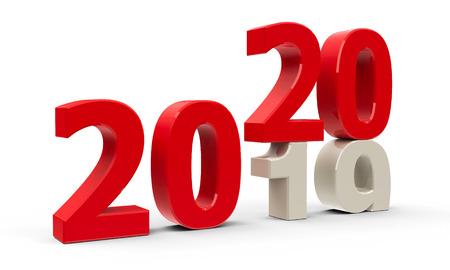 Die Änderung 2019-2020 steht für das neue Jahr 2020, dreidimensionales Rendering, 3D-Illustration Standard-Bild