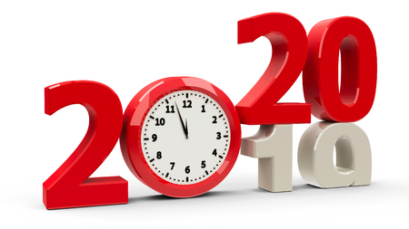 2019-2020 change with clock dial represents coming new year 2020, three-dimensional rendering, 3D illustration