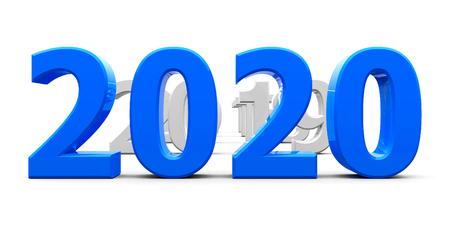 Blue 2020 Come steht für das neue Jahr 2020, dreidimensionales Rendering, 3D-Illustration Standard-Bild