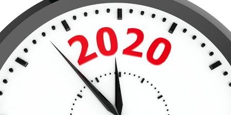 L'orologio nero con il 2020 rappresenta l'arrivo del nuovo anno 2020, il rendering tridimensionale, l'illustrazione 3D