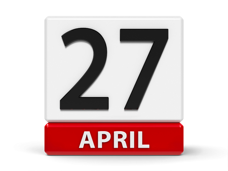Red and white calendar icon from cubes - The Twenty Seventh of April - on a white table, three-dimensional rendering, 3D illustration