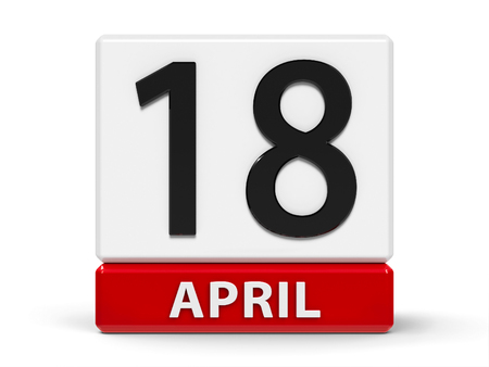 Red and white calendar icon from cubes - The Eighteenth of April - on a white table - World Amateur Radio Day and International Day for Monuments and Sites, three-dimensional rendering, 3D illustration Stock Photo
