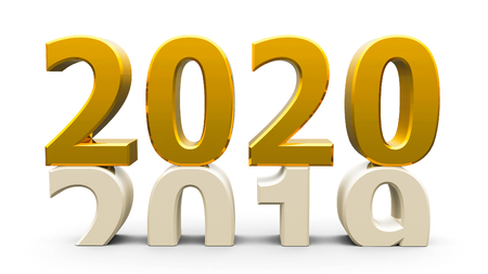 2019-2020 change represents the new year 2020, three-dimensional rendering, 3D illustration Banco de Imagens - 122782327