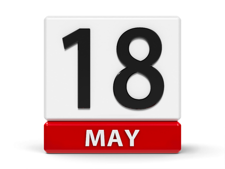 Red and white calendar icon from cubes - The Eighteenth of May - on a white table - International Museum Day and Pink Panther Day, three-dimensional rendering, 3D illustration