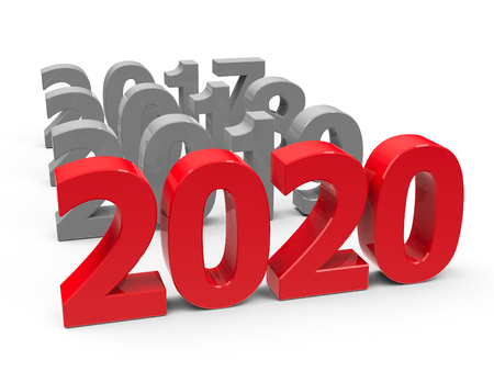 2020 come on a white table represents the new year 2020, three-dimensional rendering, 3D illustration Reklamní fotografie