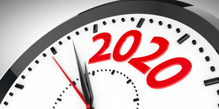 Black clock with 2020 represents coming new year 2020, three-dimensional rendering, 3D illustration