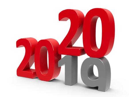 Le changement 2019-2020 représente la nouvelle année 2020, rendu tridimensionnel, illustration 3D