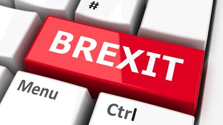 Brexit key on the computer keyboard, three-dimensional rendering, 3D illustration