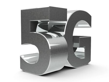 Metal 5g symbol, icon or button isolated on white background, three-dimensional rendering, 3D illustration