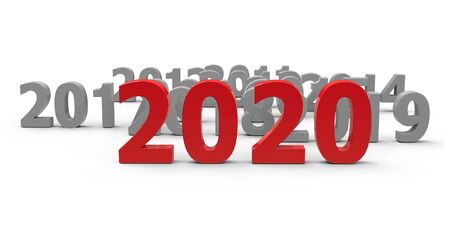 2020 come represents the new year 2020, three-dimensional rendering, 3D illustration