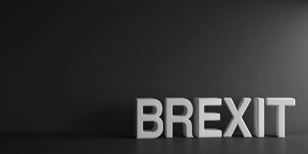 White word Brexit on grey background, three-dimensional rendering, 3D illustration Stock Photo