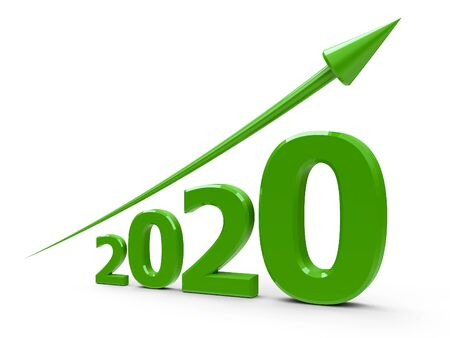 Green arrow up represents the growth in 2020 year, three-dimensional rendering, 3D illustration