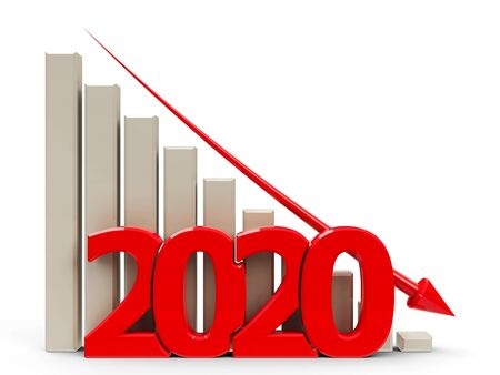 Red business graph with red arrow down, represents decrease in the year 2020, three-dimensional rendering, 3D illustration