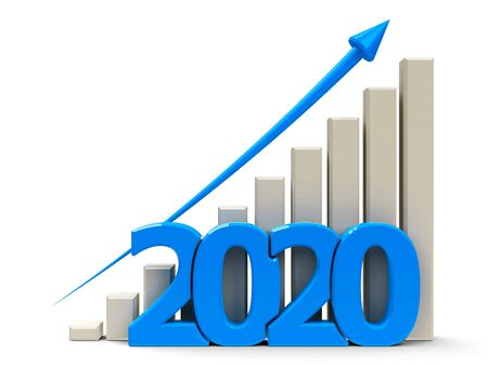 Blue business graph with blue arrow up, represents growth in the year 2020, three-dimensional rendering, 3D illustration