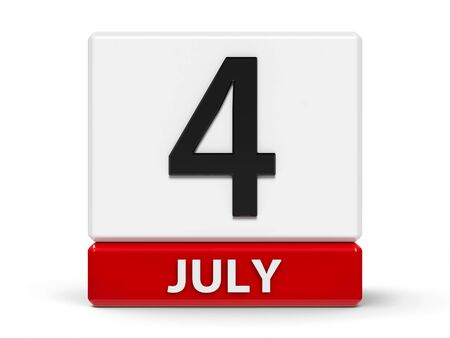 Red and white calendar icon from cubes - The Fourth of July - on a white table - Independence Day in USA, three-dimensional rendering, 3D illustration