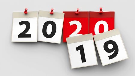 Calendar sheets with red pin and numbers 2020 on grey background represent start new year 2020, three-dimensional rendering, 3D illustration
