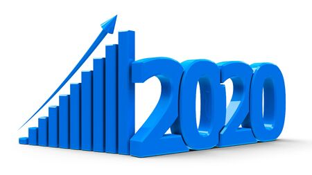 Blue business graph with arrow up and 2020 symbol, represents growth in the new year 2020, three-dimensional rendering, 3D illustration 免版税图像