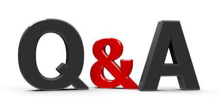 Gray Q&A - Questions and answers - symbol or icons isolated on white background, three-dimensional rendering, 3D illustration Stock Photo
