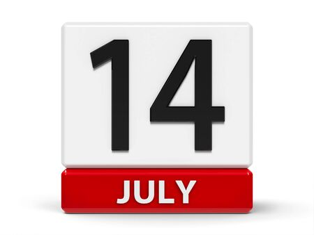 Red and white calendar icon from cubes - The Fourteenth of July - on a white table - The Bastille Day, three-dimensional rendering, 3D illustration