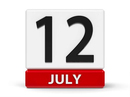 Red and white calendar icon from cubes - The Twelfth of July - on a white table, three-dimensional rendering, 3D illustration