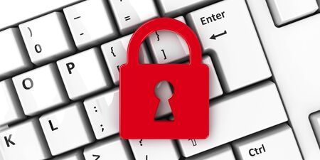 Lock icon on the computer keyboard background, three-dimensional rendering, 3D illustration