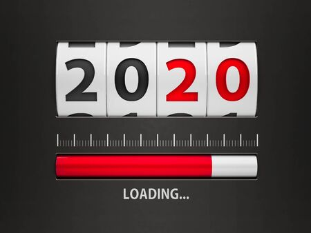 Design component of a counter dial that is showing loading new year 2020, three-dimensional rendering, 3D illustration Standard-Bild - 129259252