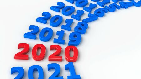 2020 past in the circle represents the new year 2020, three-dimensional rendering, 3D illustration Фото со стока