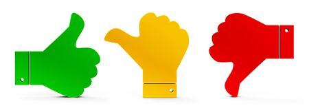 Thumb up, thumb down and thumb middle icons isolated on white background - represents customer satisfaction and feedback, three-dimensional rendering, 3D illustration Stock Illustration - 129259257