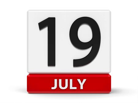 Red and white calendar icon from cubes - The Nineteenth of July - on a white table, three-dimensional rendering, 3D illustration