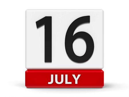 Red and white calendar icon from cubes - The Sixteenth of July - on a white table, three-dimensional rendering, 3D illustration