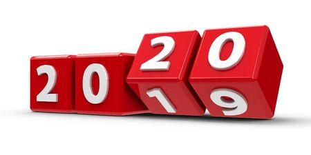 Czerwone kostki ze zmianą 2019-2020 na białym stole reprezentują nowy rok 2020, renderowanie trójwymiarowe, ilustracja 3D