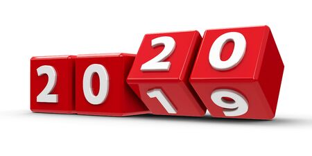 Les cubes rouges avec changement 2019-2020 sur un tableau blanc représentent le nouveau rendu tridimensionnel 2020, illustration 3D
