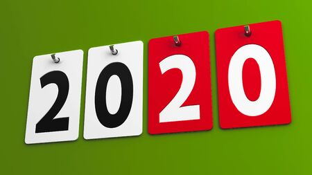 Plates 2020 on green wall, represents the new year 2020, three-dimensional rendering, 3D illustration