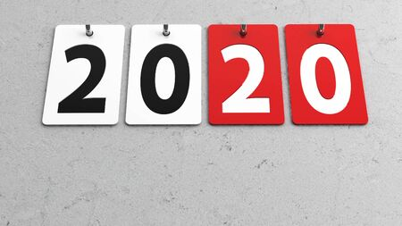 Plates 2020 on grey wall, represents the new year 2020, three-dimensional rendering, 3D illustration