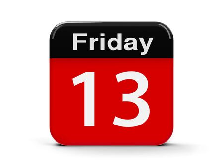 Red and black calendar web button - 13th Friday - on a white table, three-dimensional rendering, 3D illustration