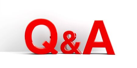 Red letters Q&A - Questions and answers - on white wall, three-dimensional rendering, 3D illustration